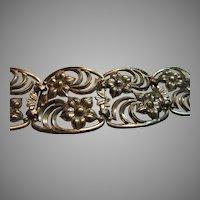 W E Richards Sterling Silver Bracelet Flower Design Signed