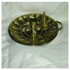 Old Brass Chamberstick Candle Stand With Snuffer