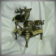 Rare Elephant & Deer Brass Inkwell Writing Desk