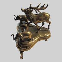 Brass Deer And Elephants Inkwells