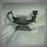 Pewter Tone Metal Old Candlestand With Bowl Magic Lamp Style