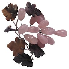Rose Quartz Grapes Cluster Green Jade Leaves