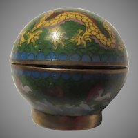 Small Chinese Cloisonne Dome Covered Bowl
