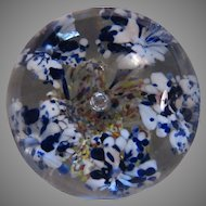 Heavy Glass Paperweight Cobalt white Flowers