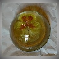 Old Paperweight Pansy Flower In Lucite Dome Fine Decorative Arts