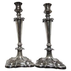 English Silver Plate Candlesticks Pair Tall