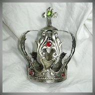 Pewter Or Silver Tone Large Jeweled Crown For Religious Statue Santos