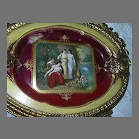 Royal Vienna Style Framed Charger Platter Portrait Plate Artist Signed