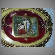 Royal Vienna Style Framed Charger Platter Portrait Plate Artist Signed