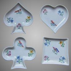 Limoges Porcelain Bridge Set Hand Painted Birds Plates  Ashtrays Heart Club Spade Diamond