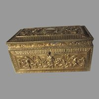 Antique Spanish Jewelry Box Treasure Casket Heavy Brass Mythological Faces Winged Dragons