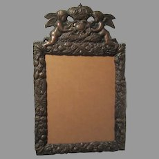 Hallmarked Copper & Silverplate Picture Frame  Angels Crown