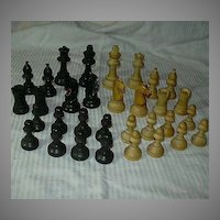 Old Chess Set Wood Pieces & Original Storage Box