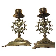 Pair Old Brass Candlesticks Mythological Faces
