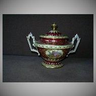 Dresden Porcelain Sugar Bowl w Lid Cameo Portraits