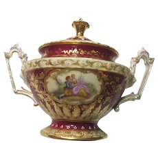 Old Dresden Porcelain Sugar Occasional Bowl With Lid Hand Painted Couples