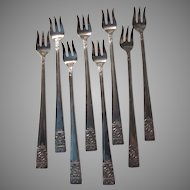 Set 8 Silver Cocktail Forks National Silver Co