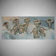 Poole Silverplate Pair Triple Candleholder Candelabras Fine Silver