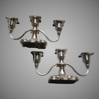 Poole Old English Silverplate Pair Triple Candleholder Candelabras