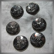 Set 6 Sterling Silver EMF Mexico Buttons