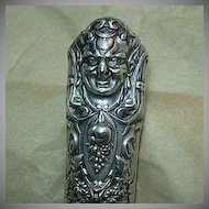 Antique Silver Button Hook Face With Horns Rare Metalwork