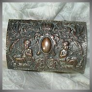 Sheffield Plate Jewelry Casket Box Mythological Scene