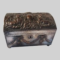 Sheffield Plate Jewelry Casket Box Mythological Scene Pan