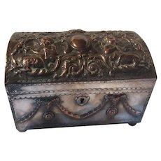 Sheffield Plate Jewelry Casket Box Mythological Scene Pan