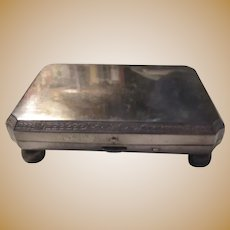 Silver Old Small Jewelry Box Case Footed