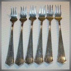 SSMC Sterling Silver Mfg Co Set 6 Relish Condiment Forks