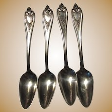1847 Rogers Bros Old Colony Silver Plate Fruit Spoons Set 4