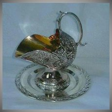 Silver Plate Footed Sugar Scoop Set With Under Plate