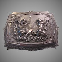 Silverplate Small Jewelry Box Cherubs Angels Fancy Designs