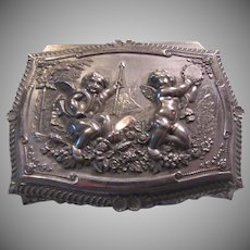 Silverplate Small Jewelry Box Cherubs Angels Fancy Designs