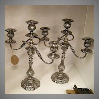 Old Pair Silver Plate Candelabra