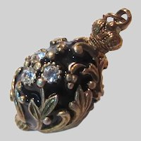Black Enamel Jeweled Egg Charm Pendant Fob