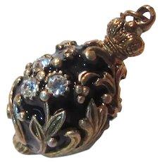 Black Enamel Jeweled Egg Charm Pendant Fob