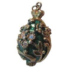 Green Enamel Jeweled Egg Charm Pendant Fob