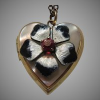 Locket With Enamel Four Leaf Clover Pendant