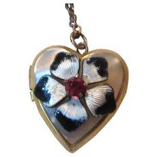Heart Shaped Locket On Chain Enamel Flower