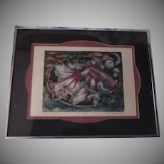 Signed Numbered Hand Colored Etching Print Fancy Goldfish Moon Stars