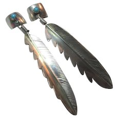 Native American Sterling Silver Feather Long Earrings Ear Cuffs