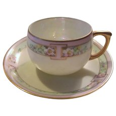 Meito Hand Painted Cup Saucer Set Japan