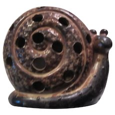 Pottery Snail Figurine and Votive Candle Holder