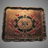 Green and Gold Gilt Italian Florentine Tray