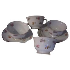 Noritake Occupied Japan Cup and Saucer Pink Flowers Set of 4 Fine Dining Tea Coffee China