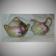 Hand Painted Porcelain Cream & Sugar Signed Dated Fine Ceramic Dining Art