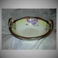 Hand Painted Bavaria Artist Signed Bowl With Gold Handles Fine Dining Porcelain China