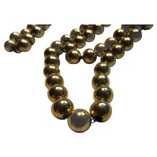 Old Gold Filled Beads Necklace Beaded On Chain
