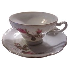 Old Japan Cup Saucer Pink Flowers